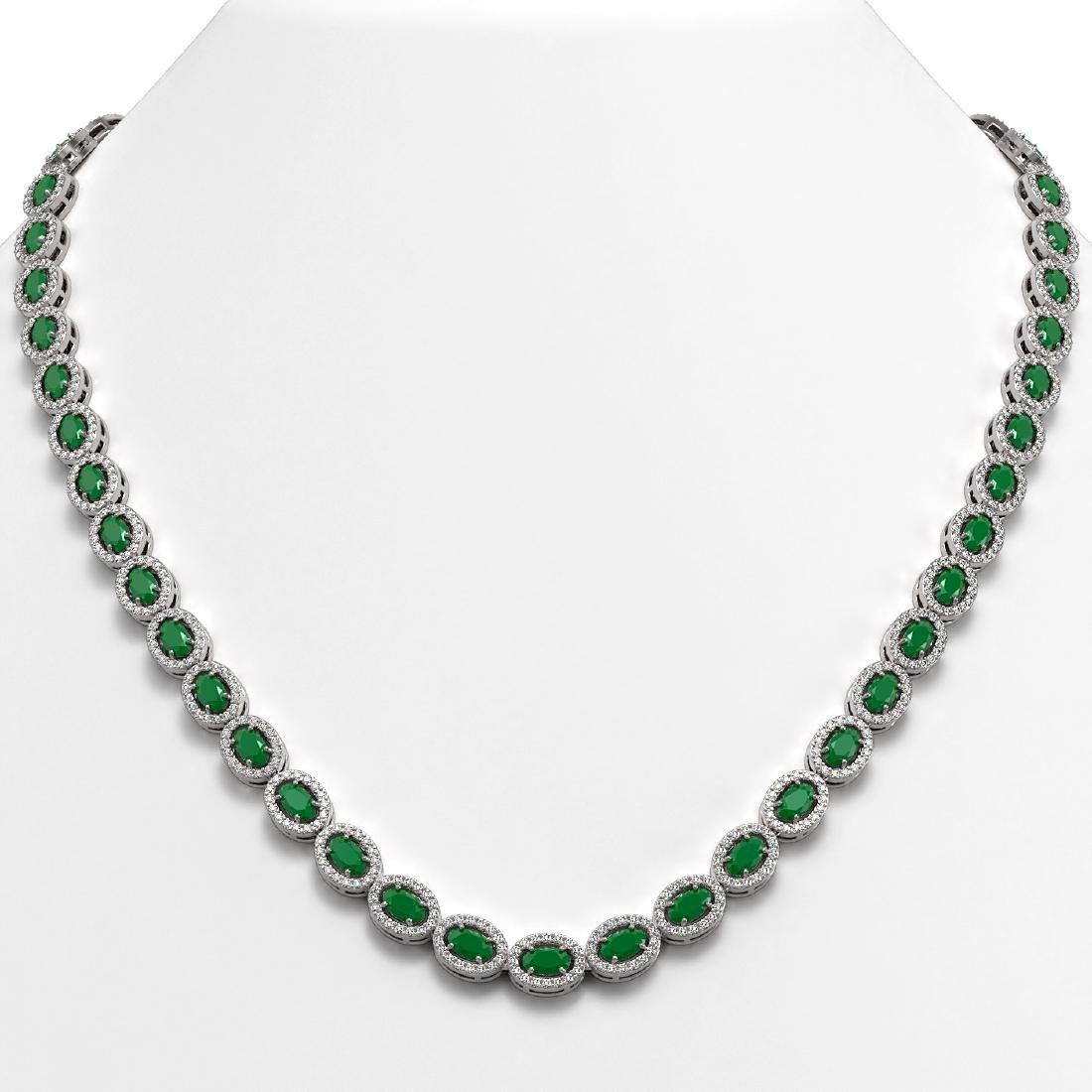 26.38 CTW Emerald & Diamond Halo Necklace 10K White
