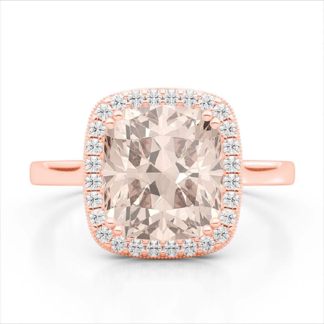 3 CTW Morganite & Micro Pave VS/SI Diamond Halo