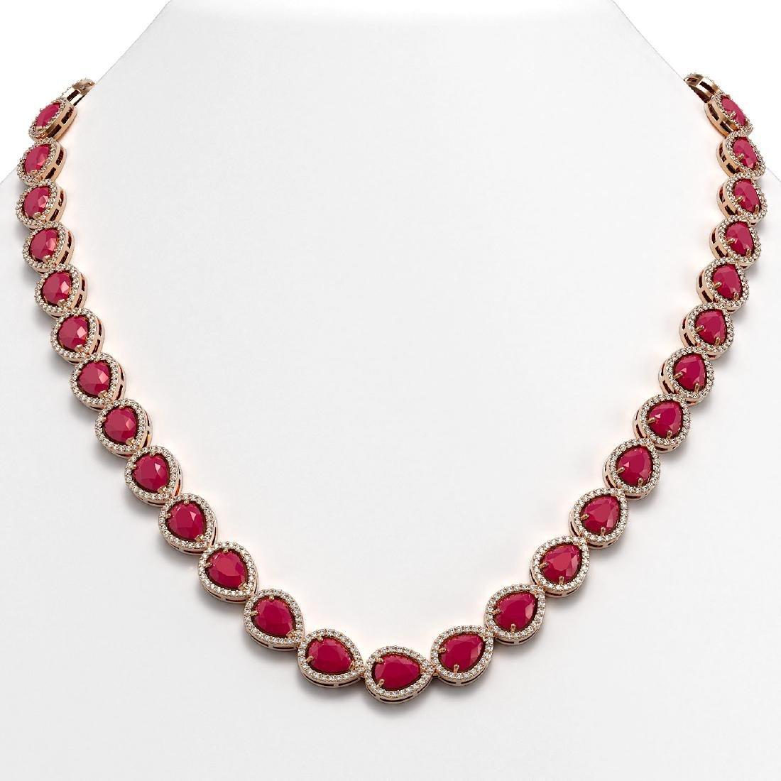 45.93 CTW Ruby & Diamond Halo Necklace 10K Rose Gold