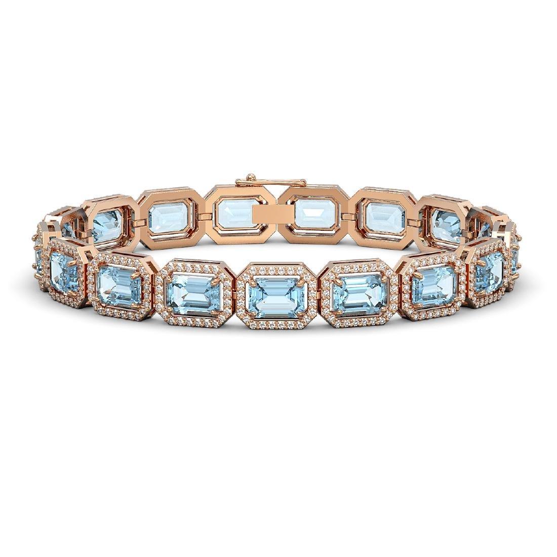 23.66 CTW Sky Topaz & Diamond Halo Bracelet 10K Rose