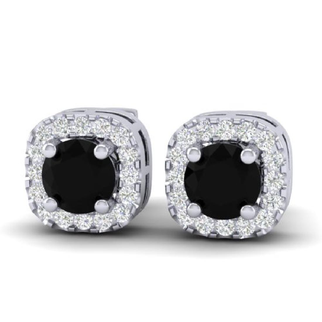 0.90 CTW Micro Pave Black & VS/SI Diamond Earrings