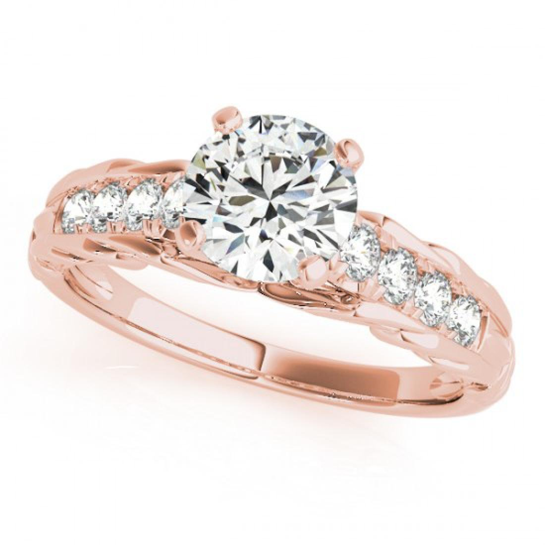 0.7 CTW Certified VS/SI Diamond Solitaire Ring 14K Rose