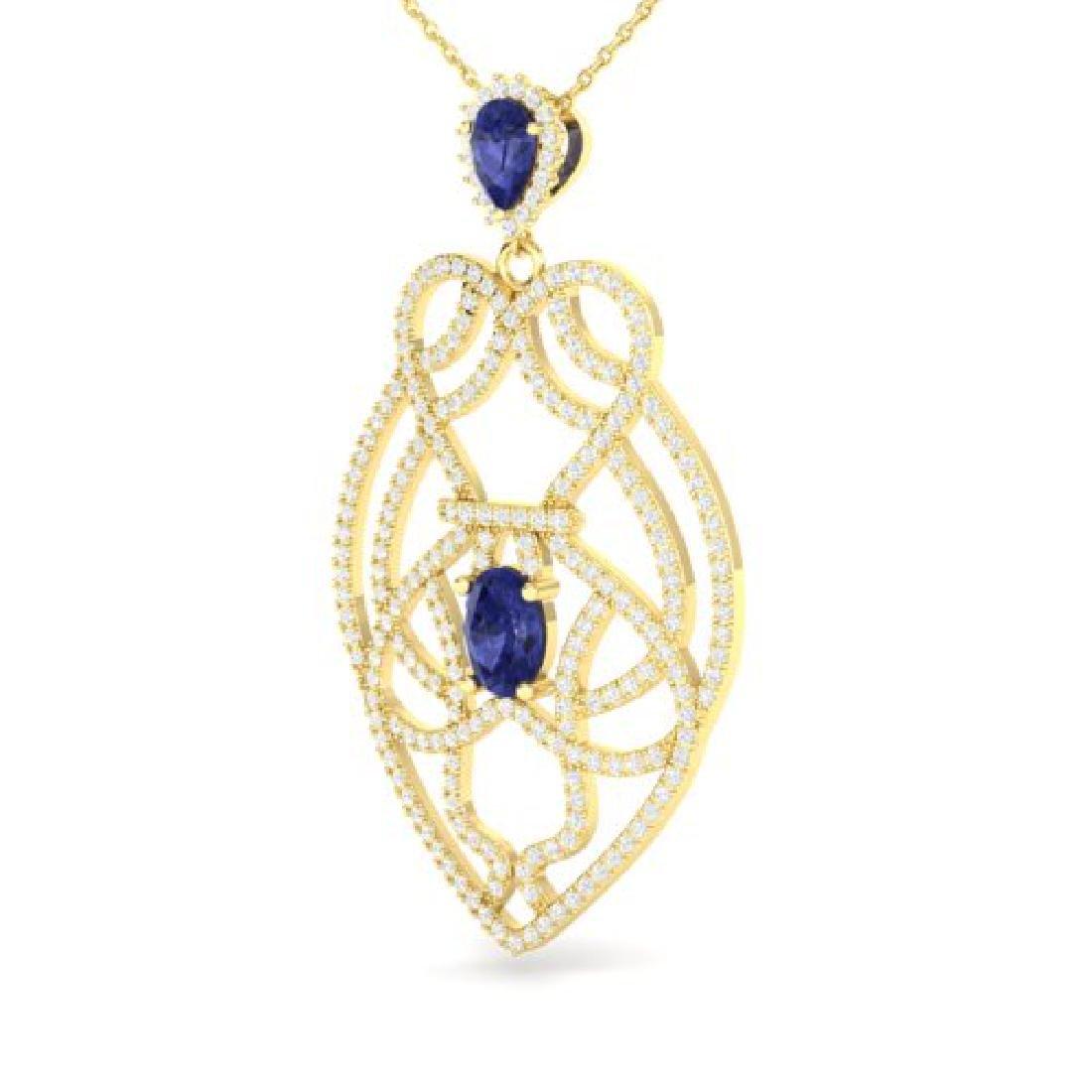 3.50 CTW Tanzanite & Micro VS/SI Diamond Heart Necklace - 2