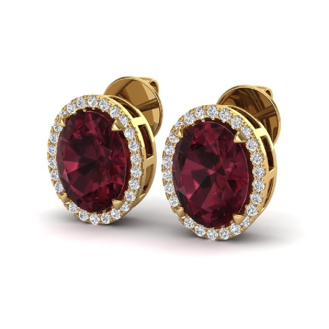 5.50 CTW Garnet & Micro VS/SI Diamond Halo Earrings 18K