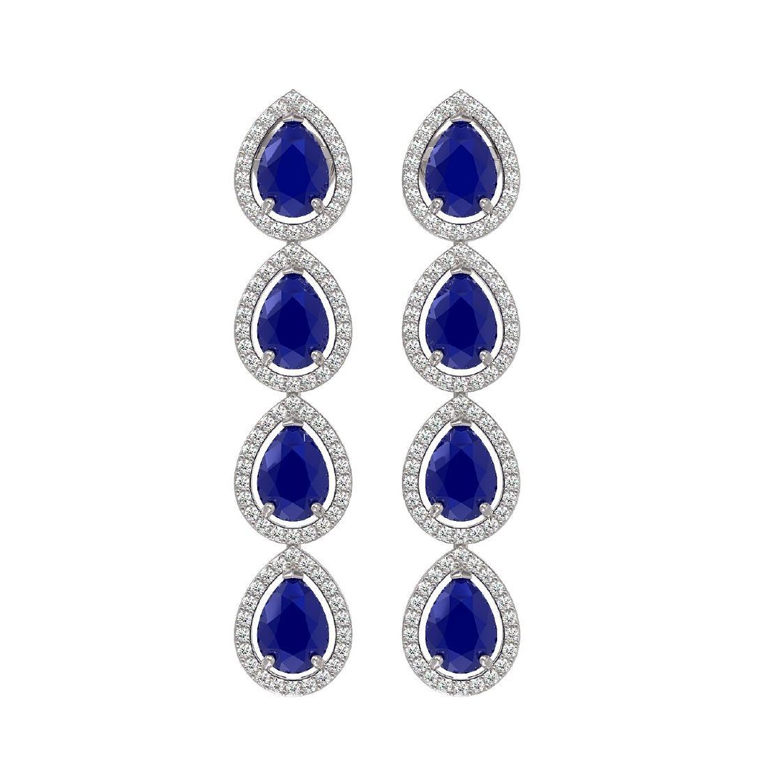 10.2 CTW Sapphire & Diamond Halo Earrings 10K White