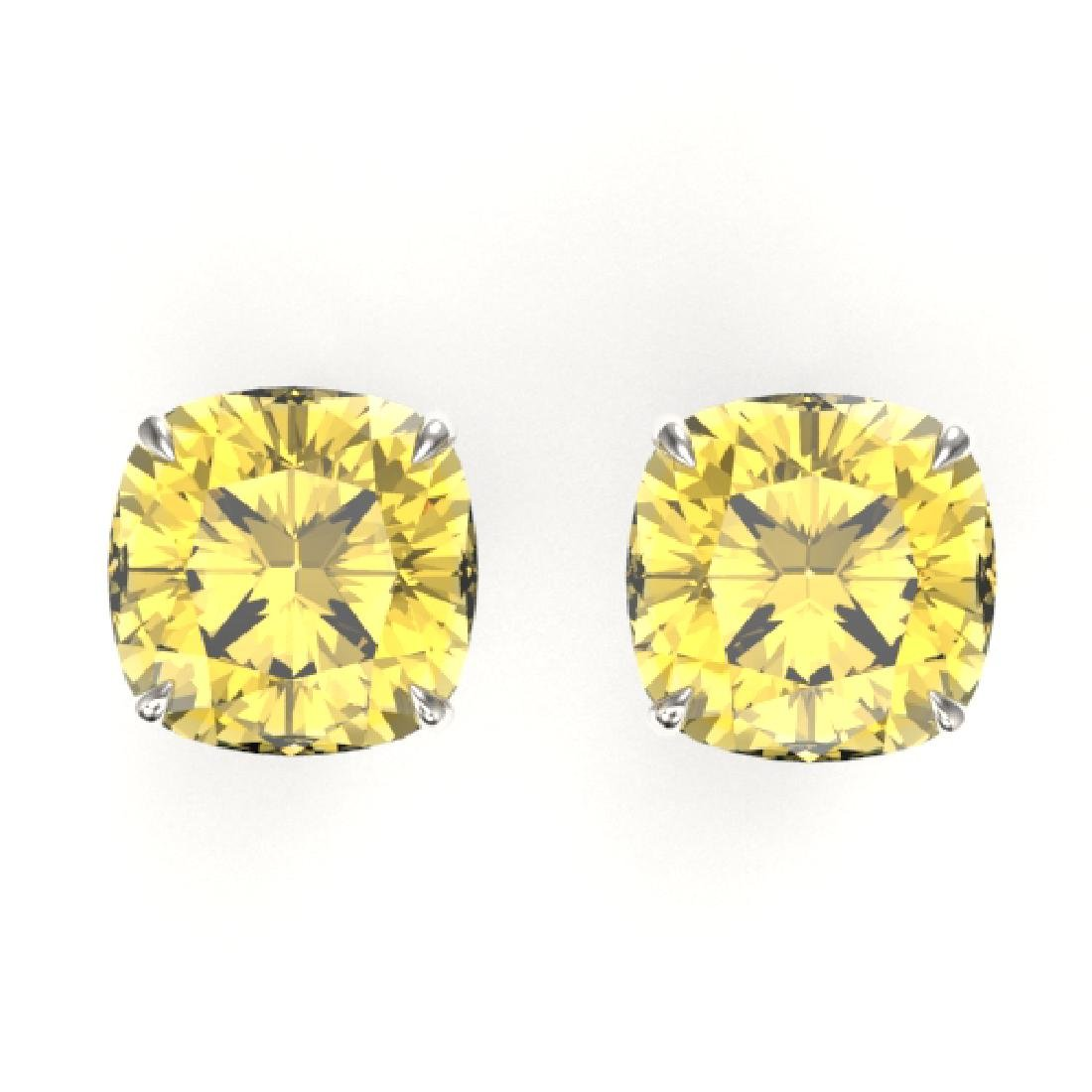 12 CTW Cushion Cut Citrine Designer Solitaire Stud
