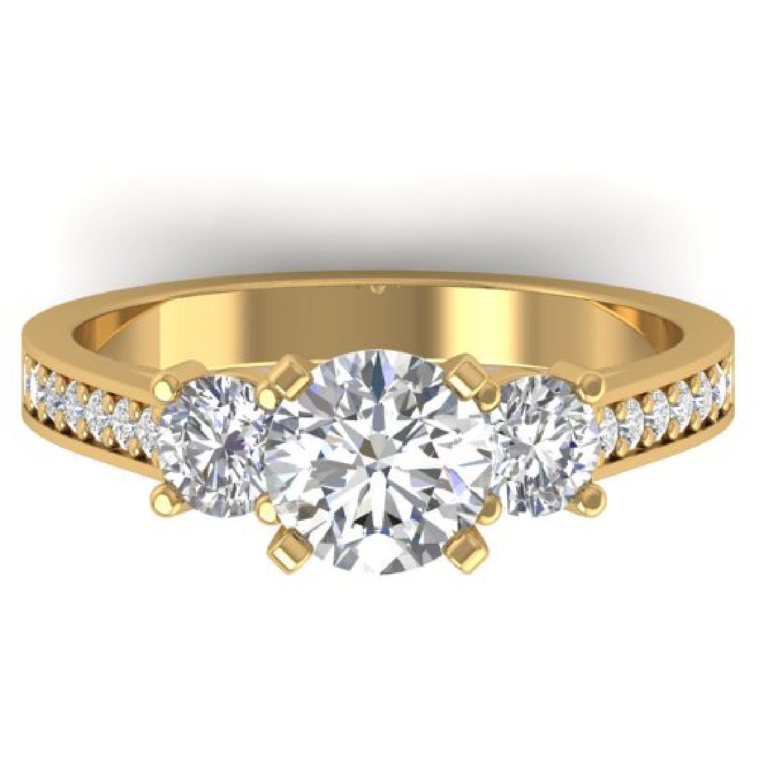 1.75 CTW Certified VS/SI Diamond 3 Stone Ring 18K
