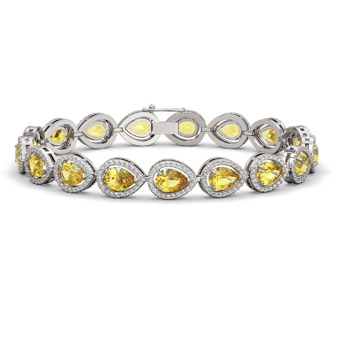 15.91 CTW Fancy Citrine & Diamond Halo Bracelet 10K
