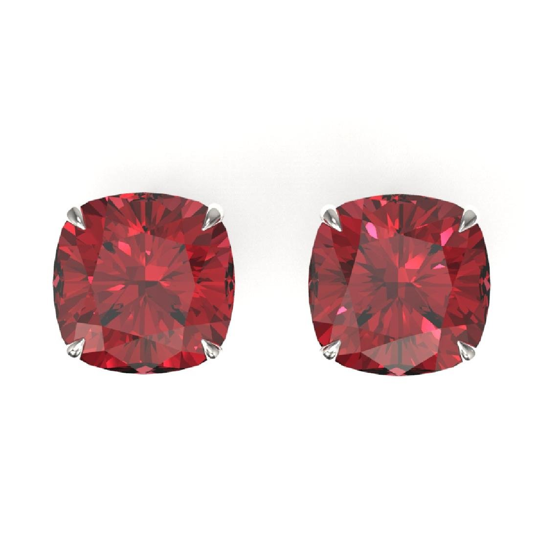 12 CTW Cushion Cut Pink Tourmaline Solitaire Stud