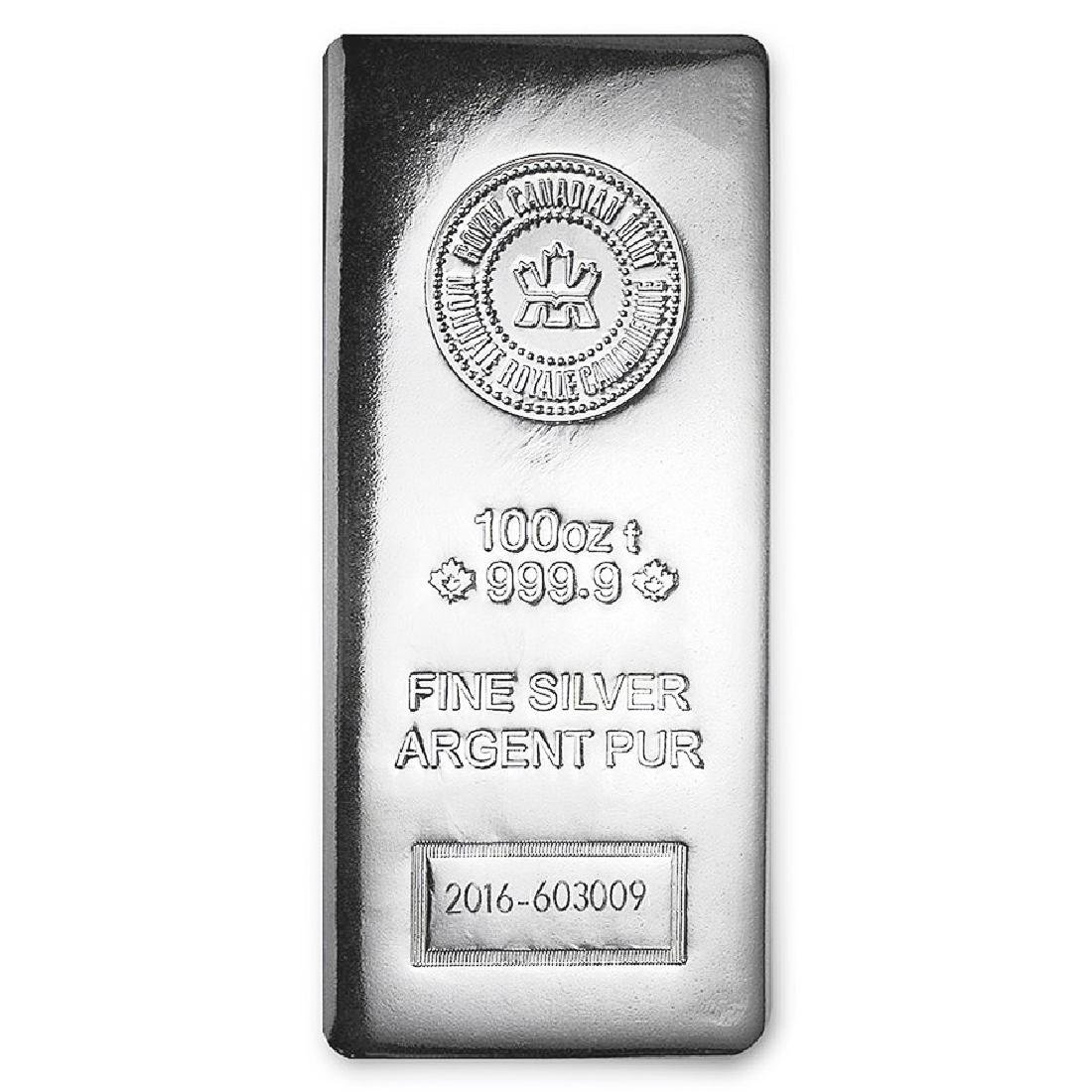 One piece 100 oz 0.999 Fine Silver Bar Royal Canadian