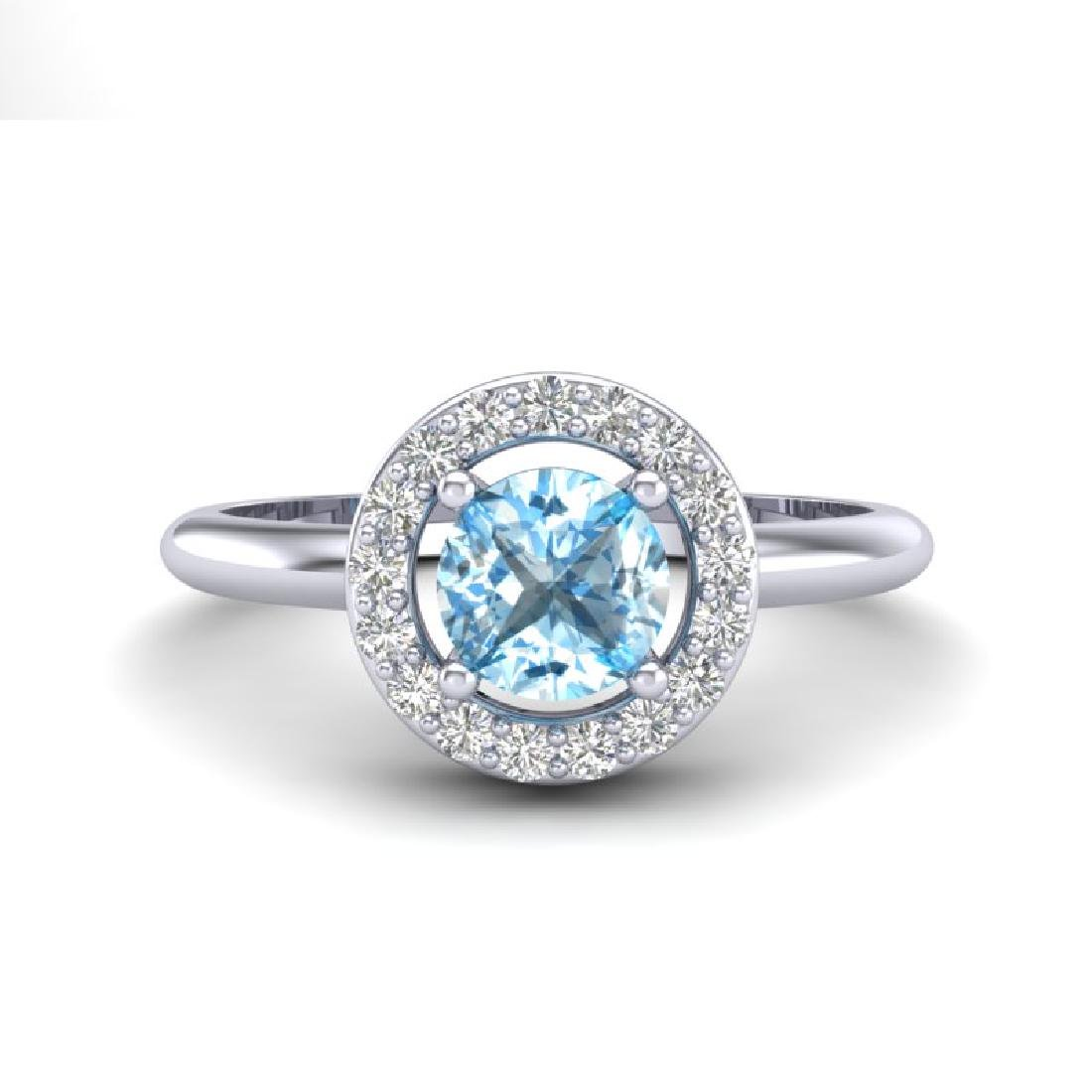 0.75 CTW Sky Blue Topaz & Micro Pave Halo VS/SI Diamond