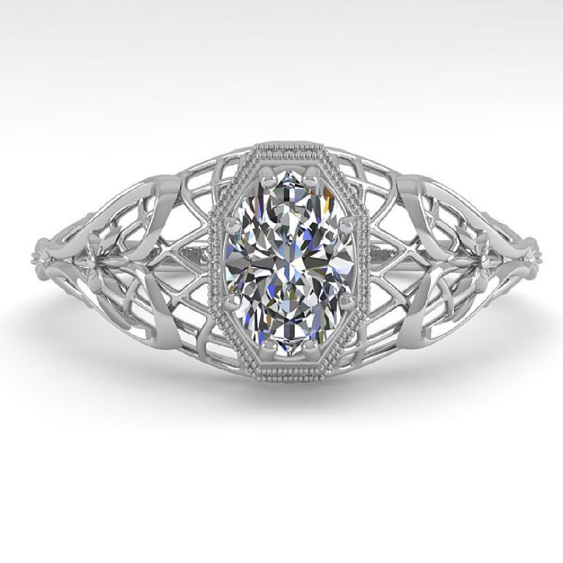 0.50 CTW VS/SI Oval Diamond Solitaire Ring Art Deco 14K