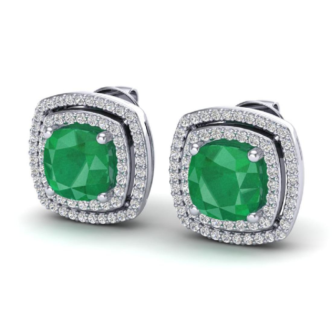 4.95 CTW Emerald & Micro Pave VS/SI Diamond Halo