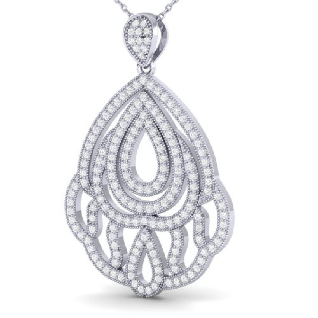 1.50 CTW Micro Pave VS/SI Diamond Necklace Designer 18K