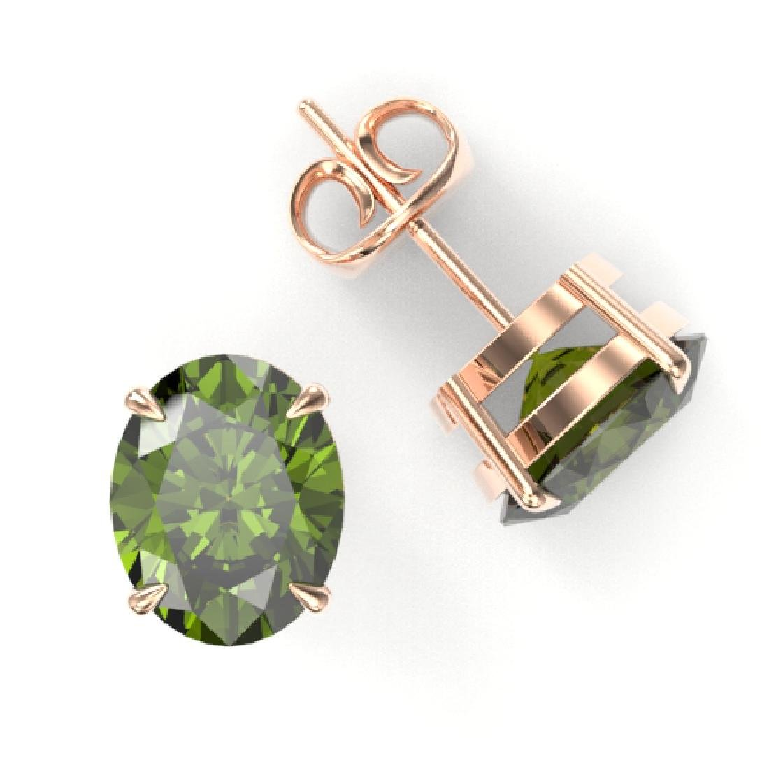 6 CTW Green Tourmaline Designer Solitaire Stud Earrings - 2