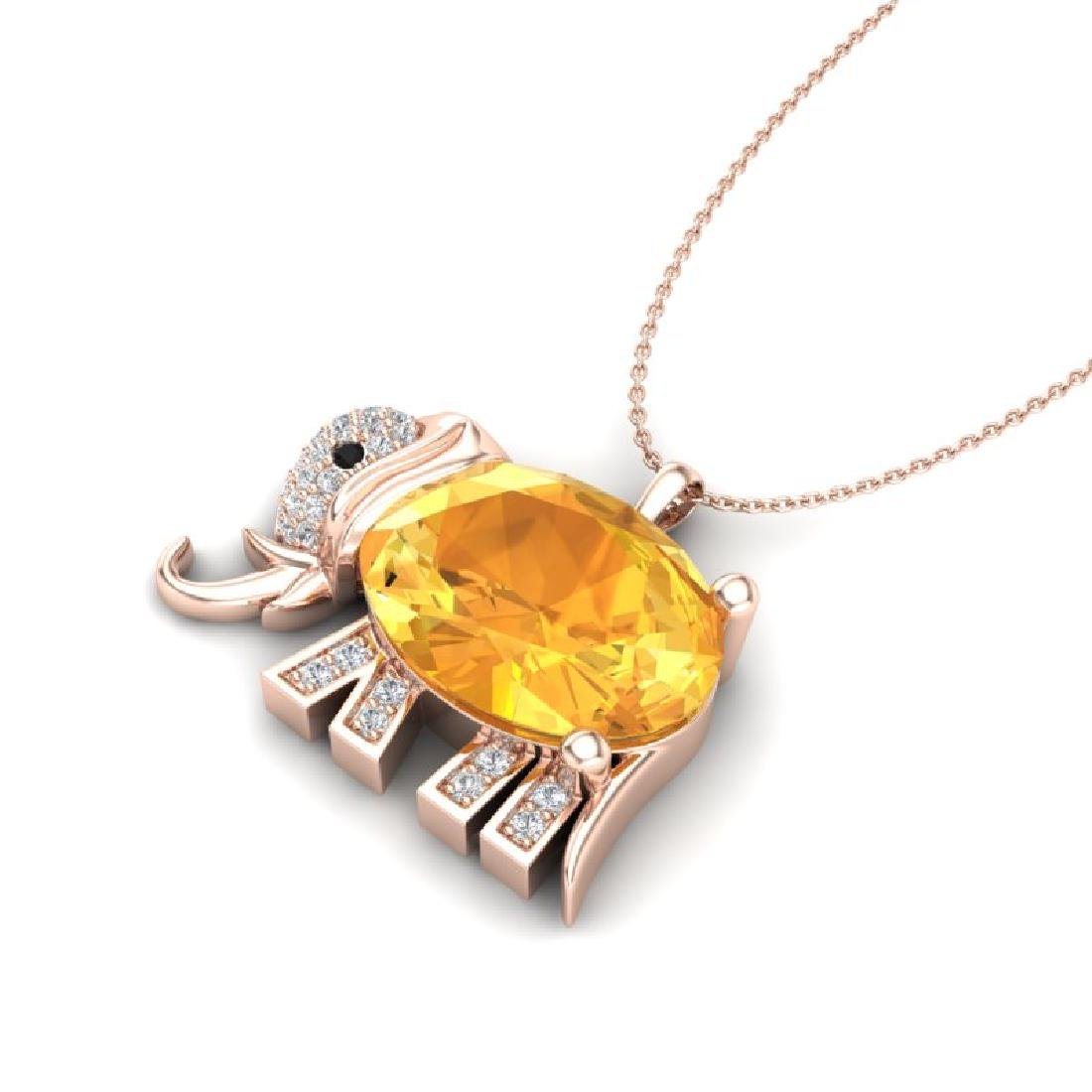 8 CTW Citrine & Micro Pave Huggable Elephant VS/SI