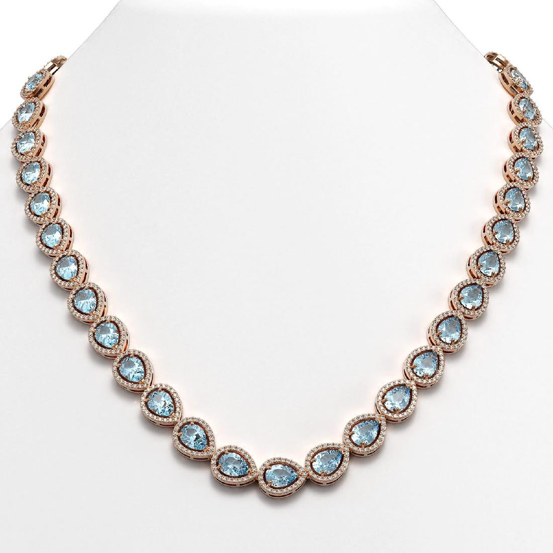 33.35 CTW Aquamarine & Diamond Halo Necklace 10K Rose