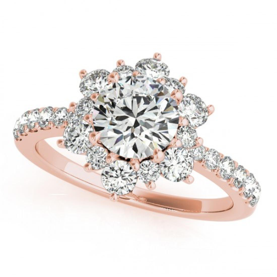1.09 CTW Certified VS/SI Diamond Solitaire Halo Ring