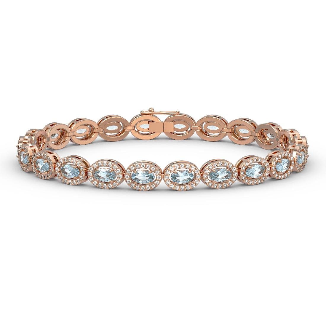 10.76 CTW Sky Topaz & Diamond Halo Bracelet 10K Rose