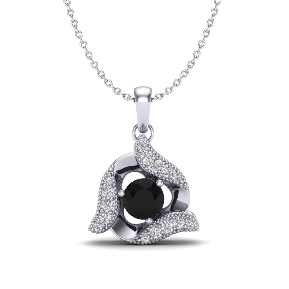 0.46 CTW Black & Micro Pave VS/SI Diamond Halo Necklace