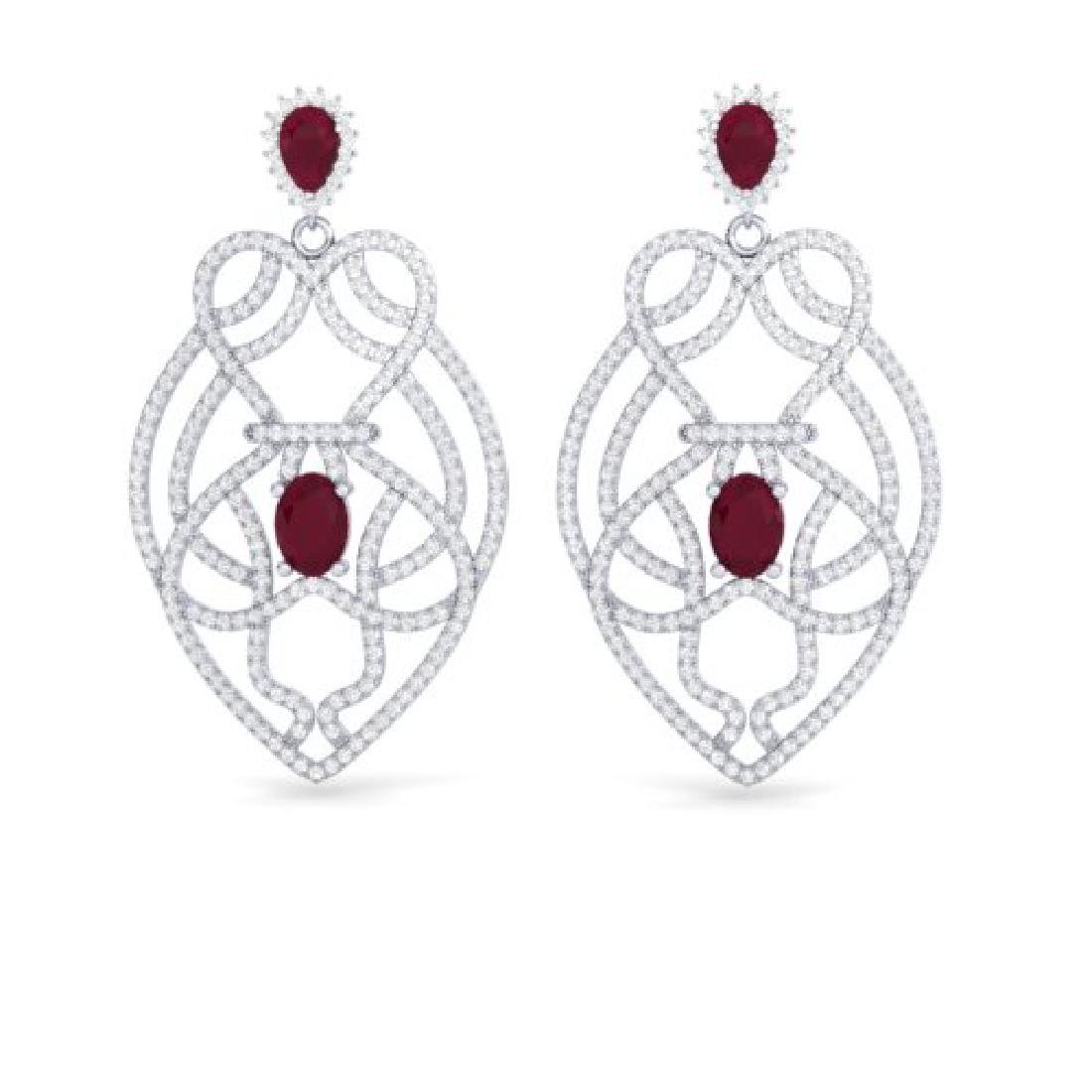 7 CTW Ruby & Micro VS/SI Diamond Heart Earrings