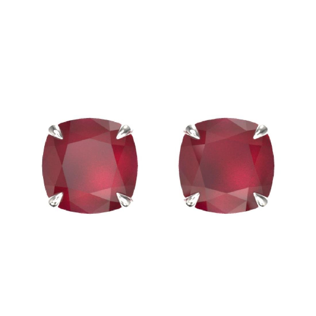 4 CTW Cushion Cut Ruby Designer Solitaire Stud Earrings