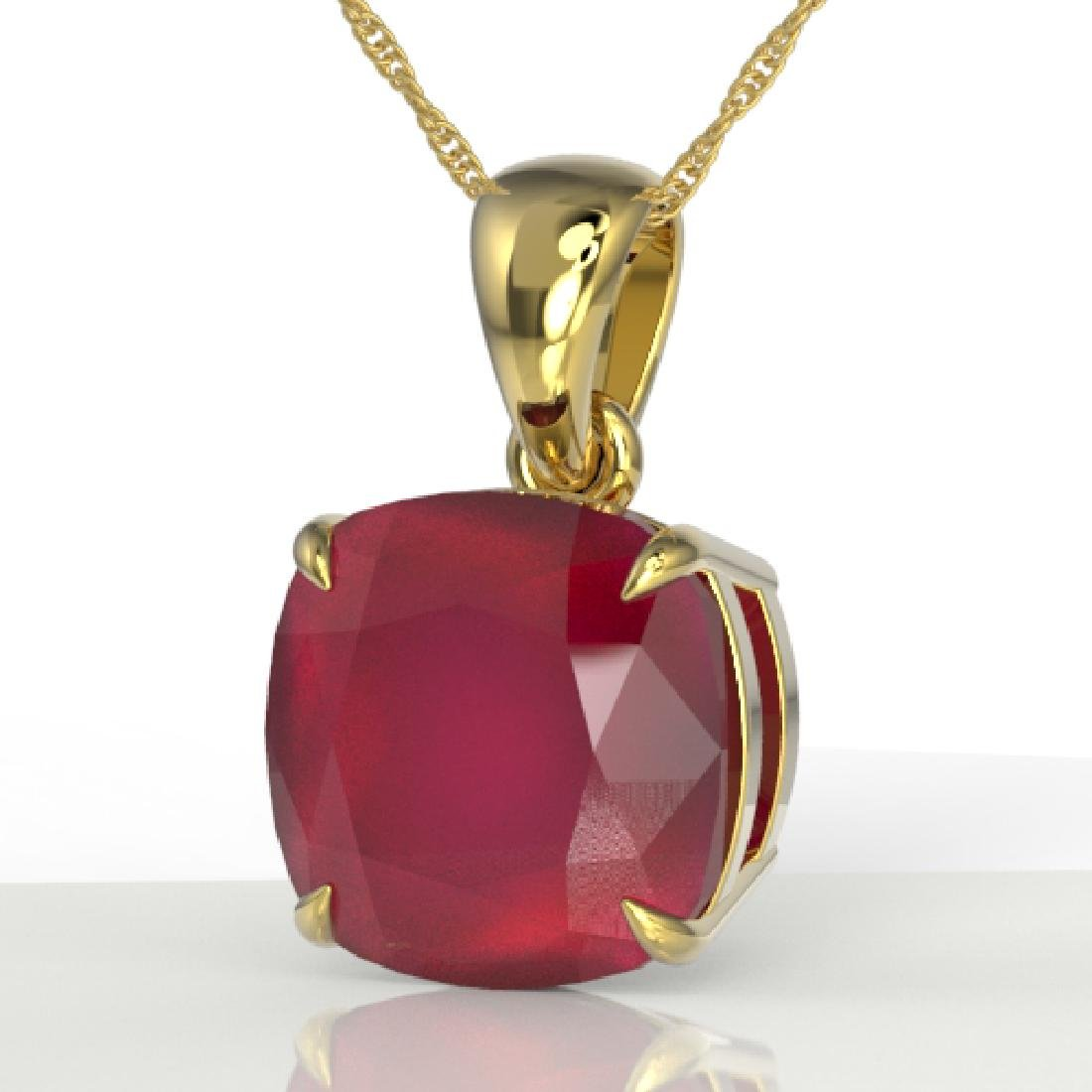 6 Cushion Cut Ruby Designer Inspired Solitaire necklace
