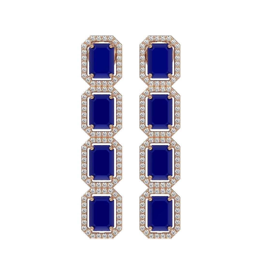 12.33 CTW Sapphire & Diamond Halo Earrings 10K Rose