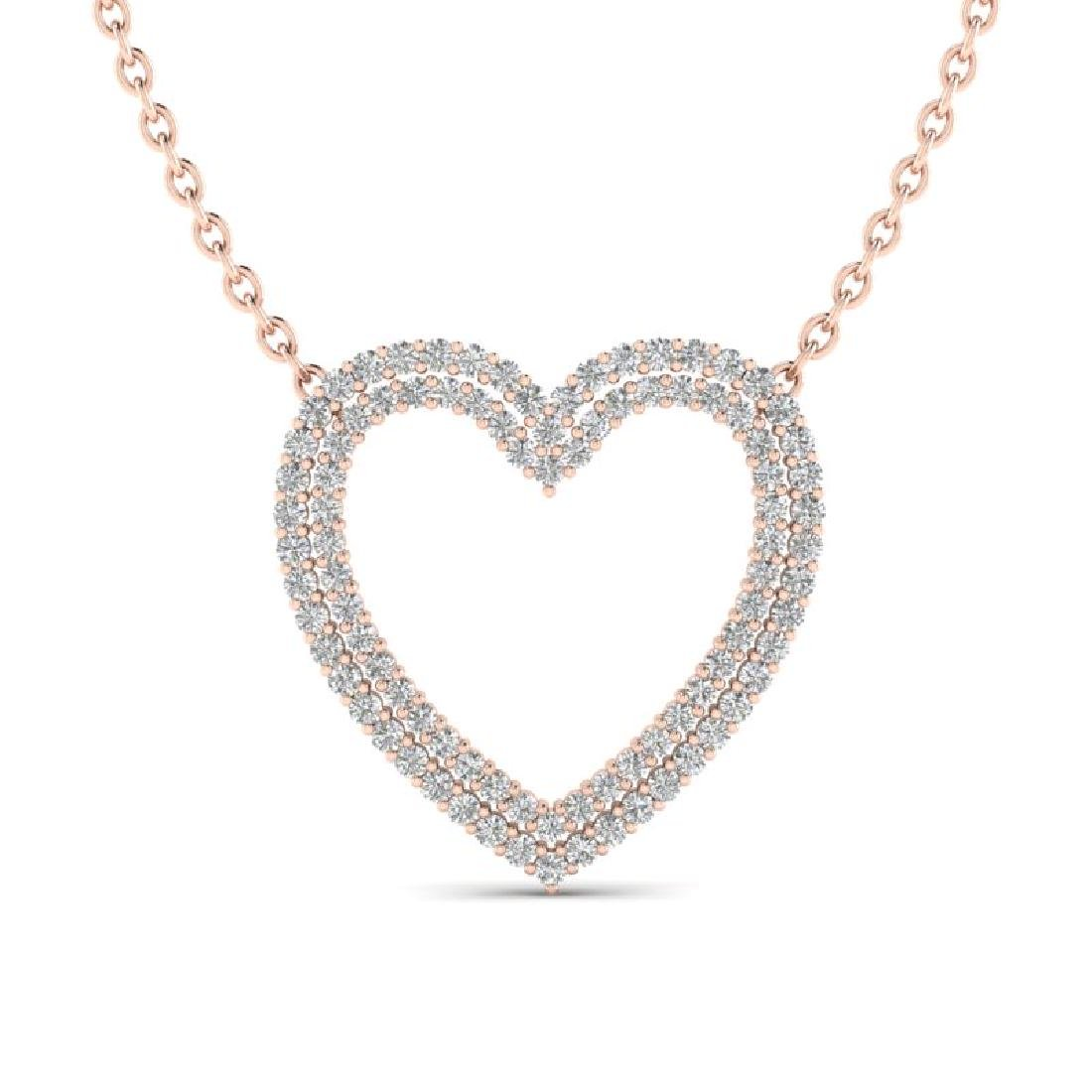 2 CTW VS/SI Diamond Heart Halo Designer Necklace 14K