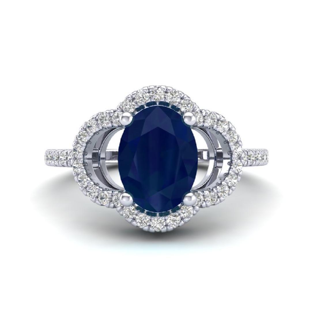 2 CTW Sapphire & Micro Pave VS/SI Diamond Ring 10K