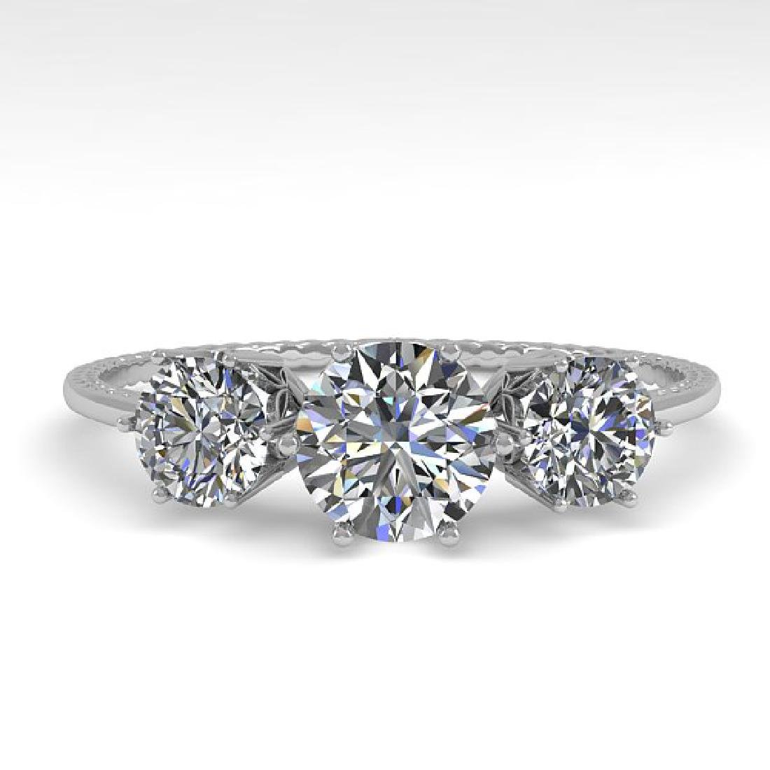 1 CTW Certified VS/SI Diamond Art Deco Ring 14K White