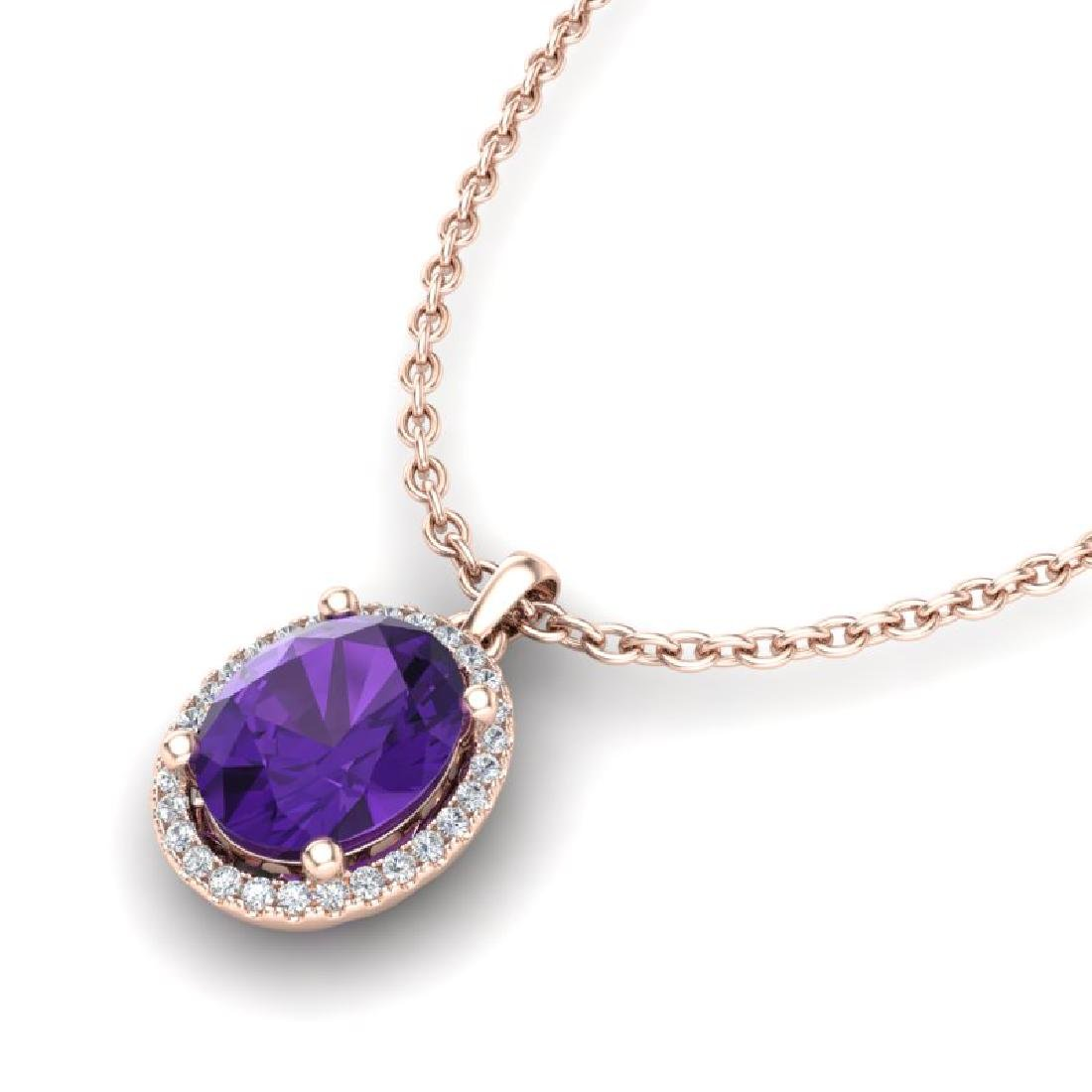 2.50 CTW Amethyst & Micro Pave VS/SI Diamond Necklace