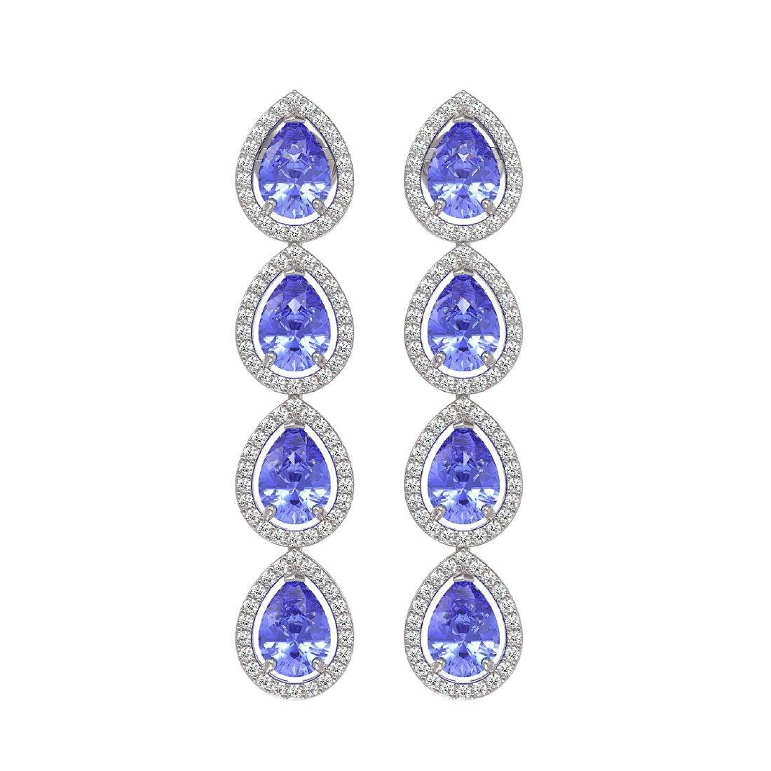 9.01 CTW Tanzanite & Diamond Halo Earrings 10K White