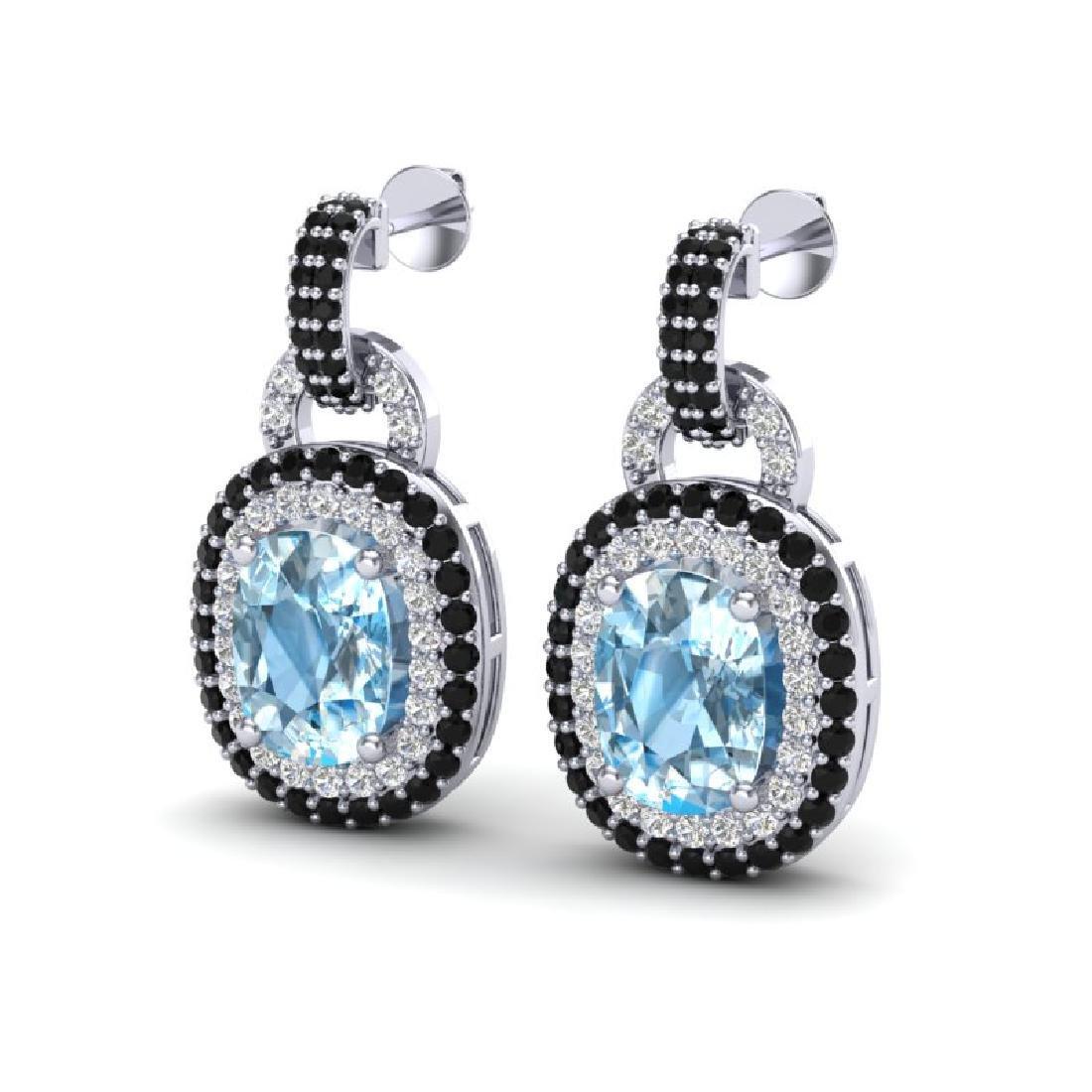 5 CTW Sky Blue Topaz With Black & Micro VS/SI Diamond