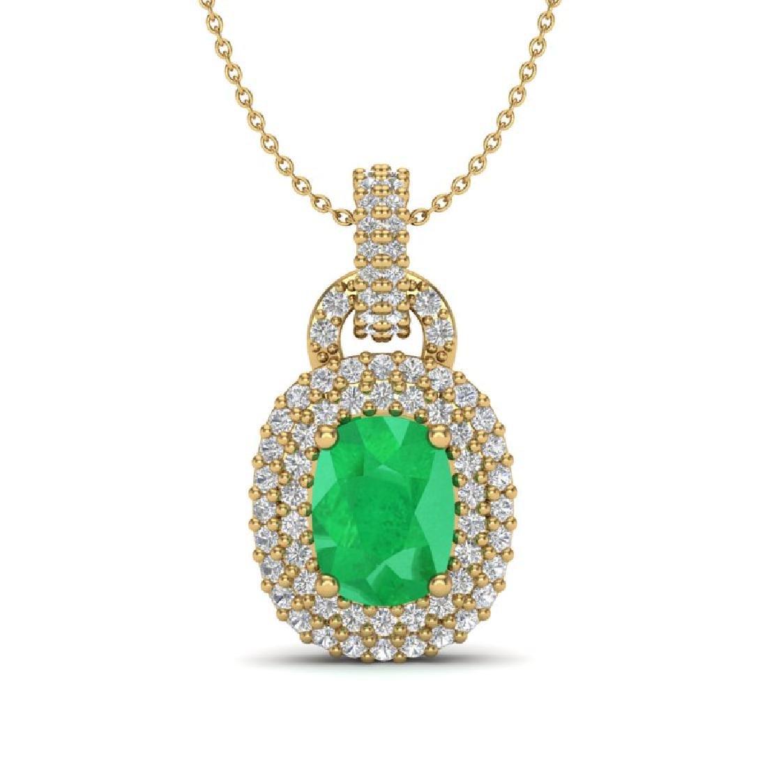 2.50 CTW Emerald & Micro Pave VS/SI Diamond Necklace