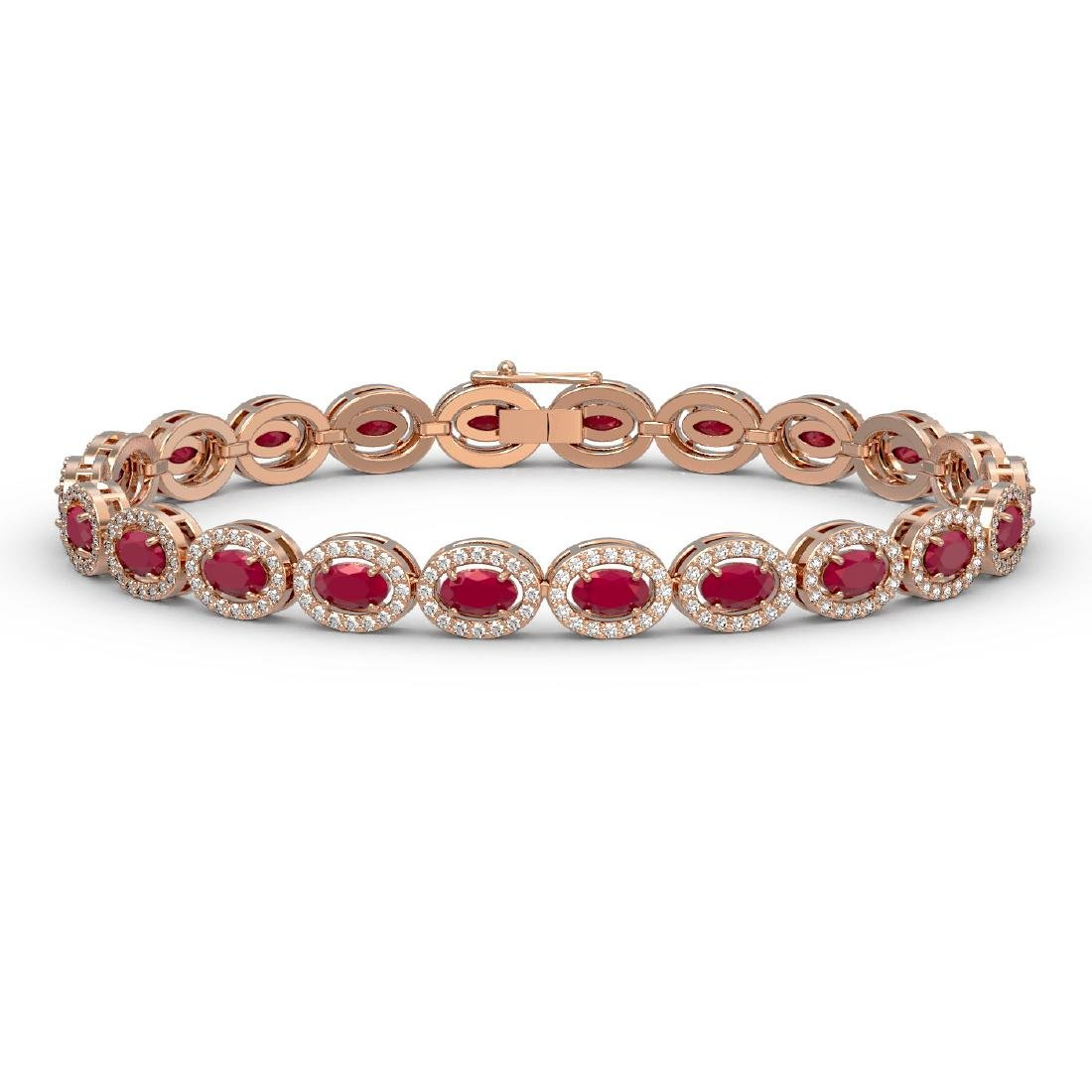 11.58 CTW Ruby & Diamond Halo Bracelet 10K Rose Gold