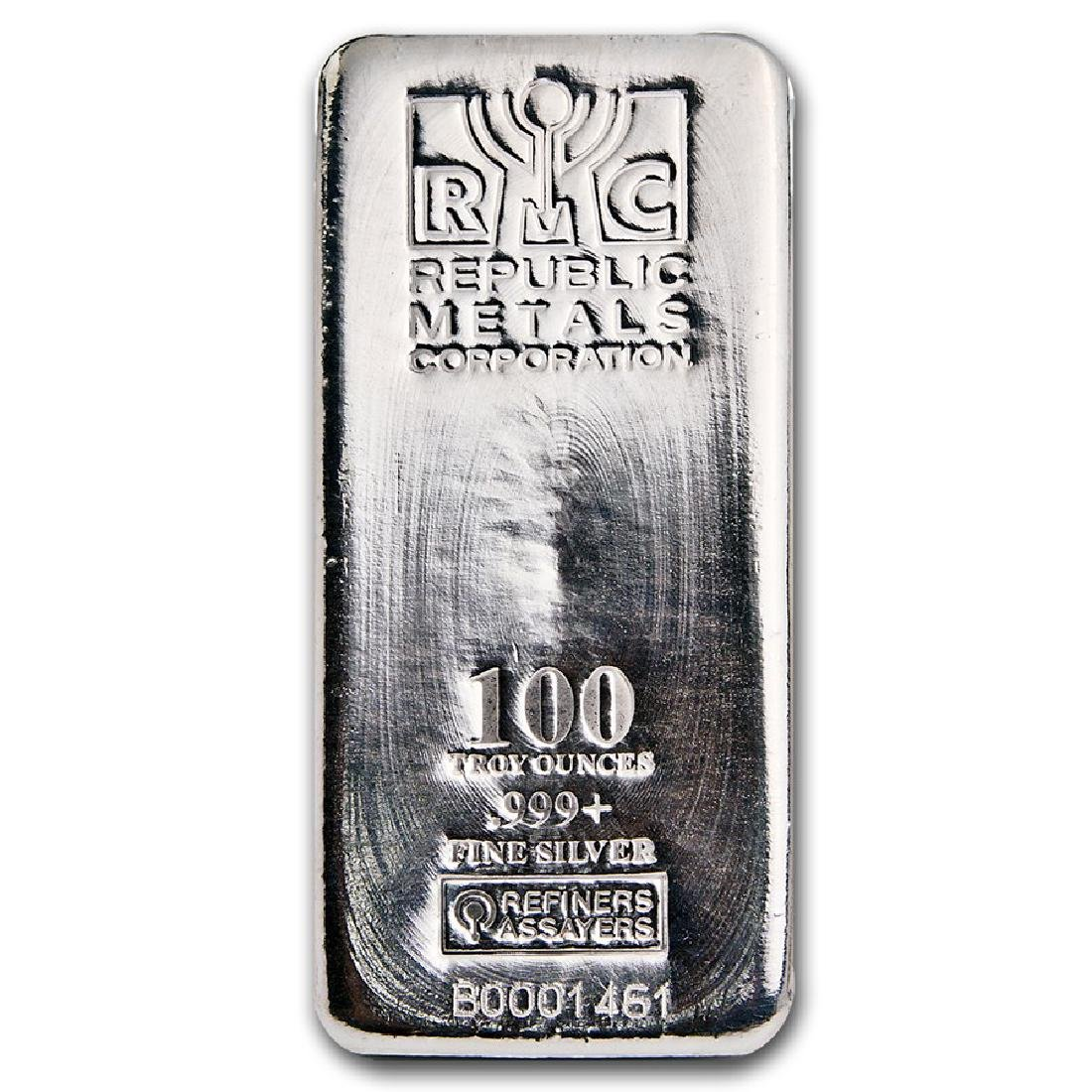 One piece 100 oz 0.999 Fine Silver Bar Republic Metals