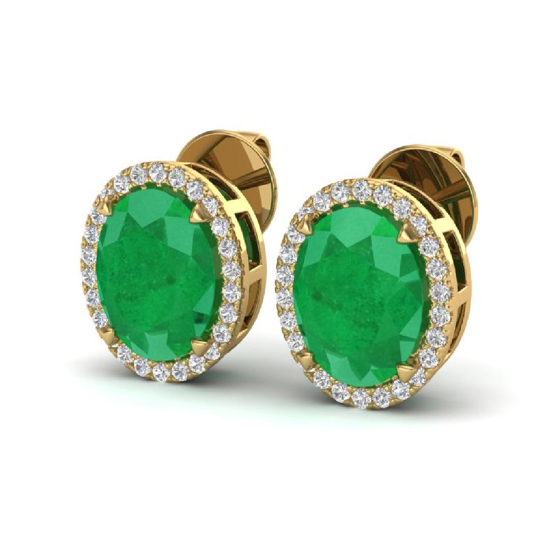5.50 CTW Emerald & Micro VS/SI Diamond Halo Earrings