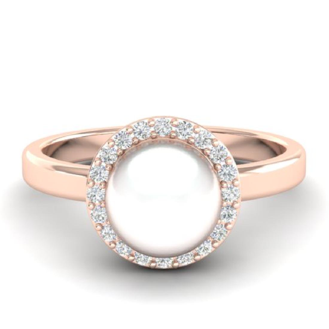 0.25 CTW Micro Pave Halo VS/SI Diamond & Pearl Ring 14K