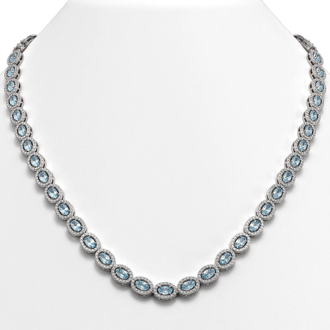20.71 CTW Aquamarine & Diamond Halo Necklace 10K White