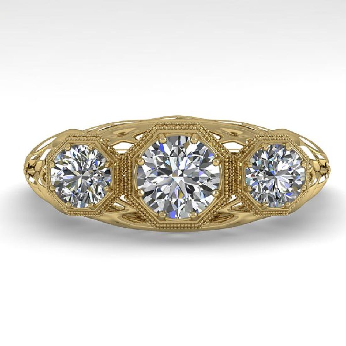1.00 CTW VS/SI Diamond Art Deco Ring 14K Yellow Gold