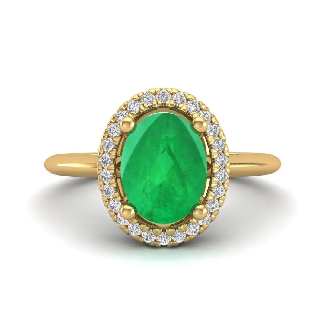 2 CTW Emerald & Micro Pave VS/SI Diamond Ring Halo 18K