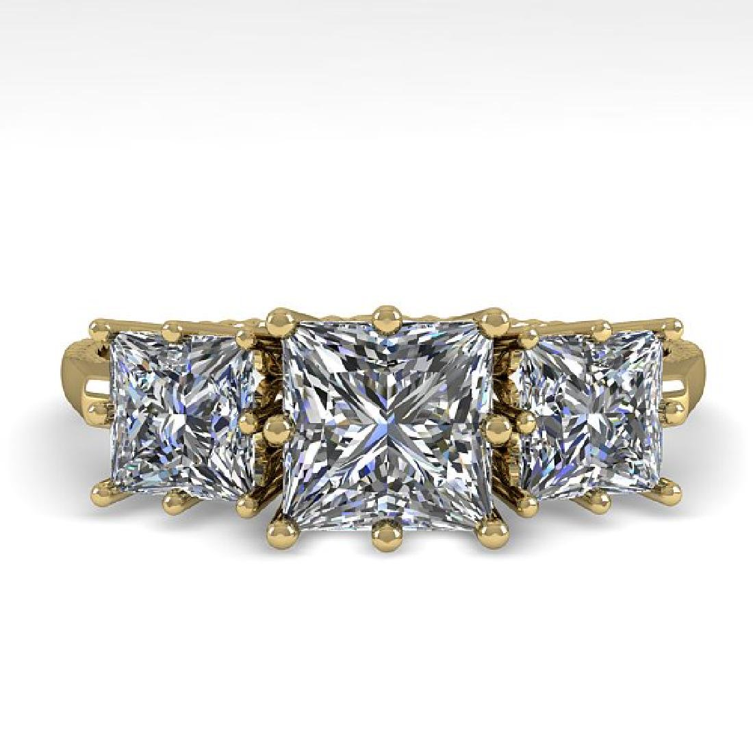 2.0 CTW VS/SI Princess Diamond Art Deco Ring 14K Yellow