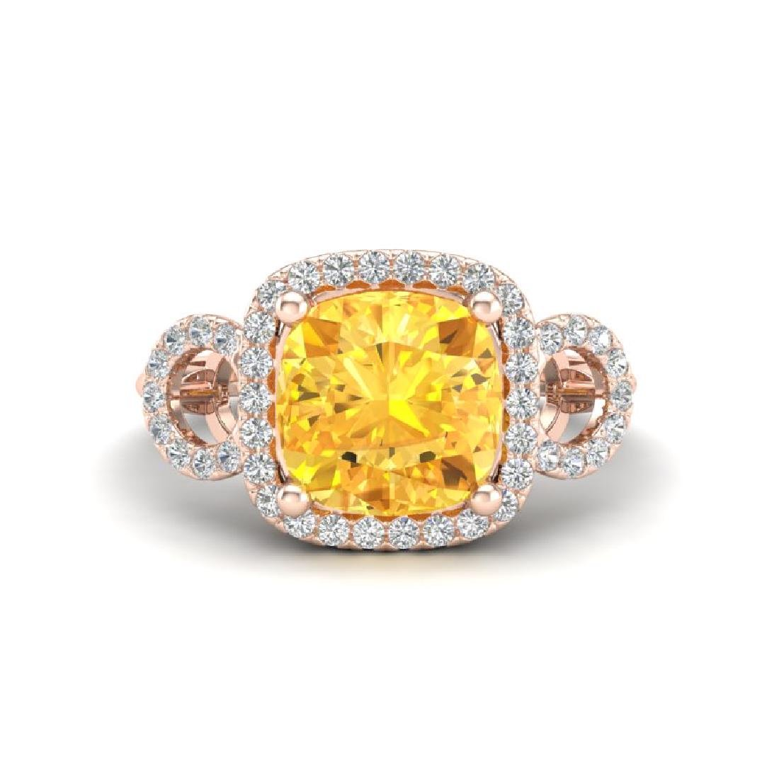 3.75 CTW Citrine & Micro VS/SI Diamond Ring 14K Rose