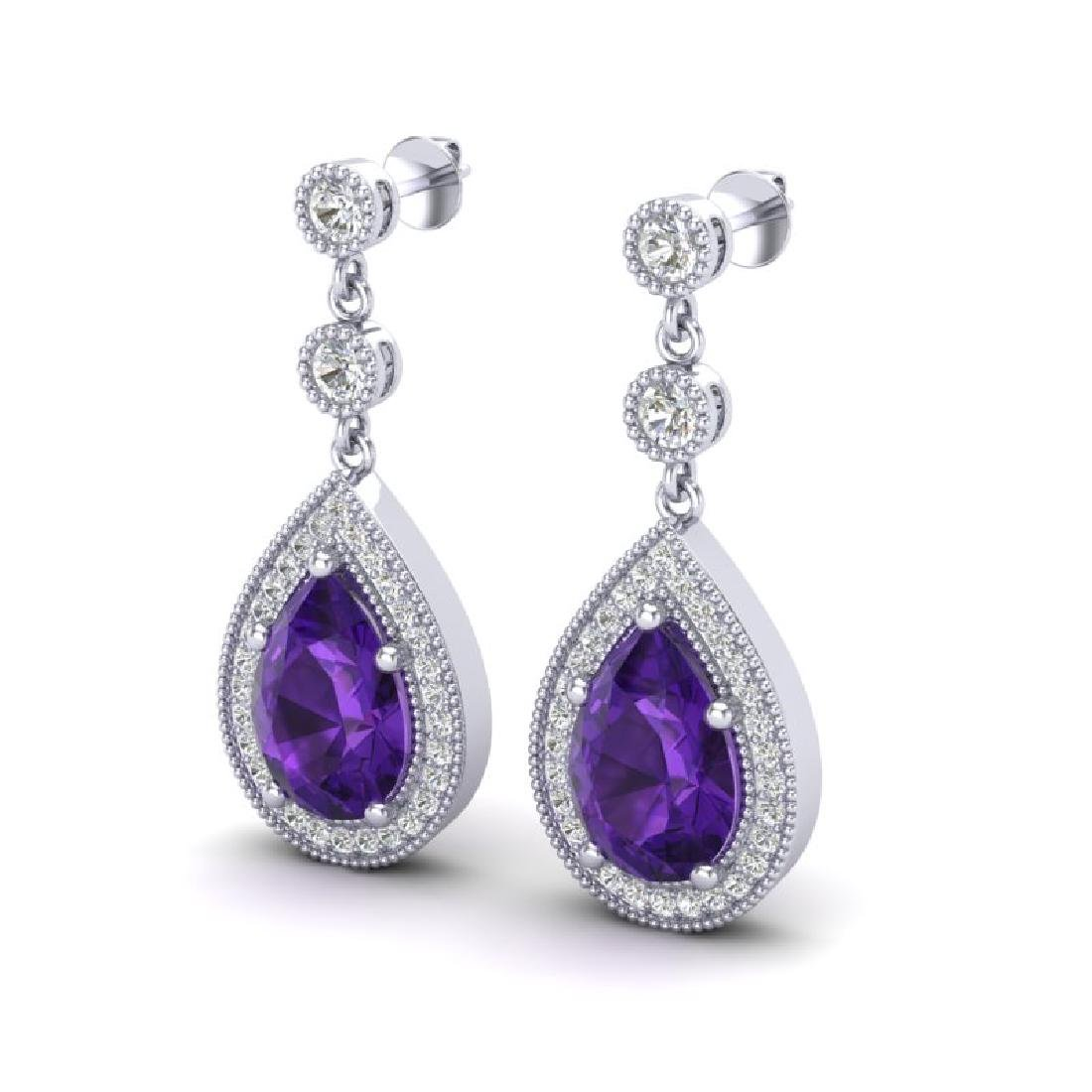 4.50 CTW Amethyst & Micro Pave VS/SI Diamond Earrings