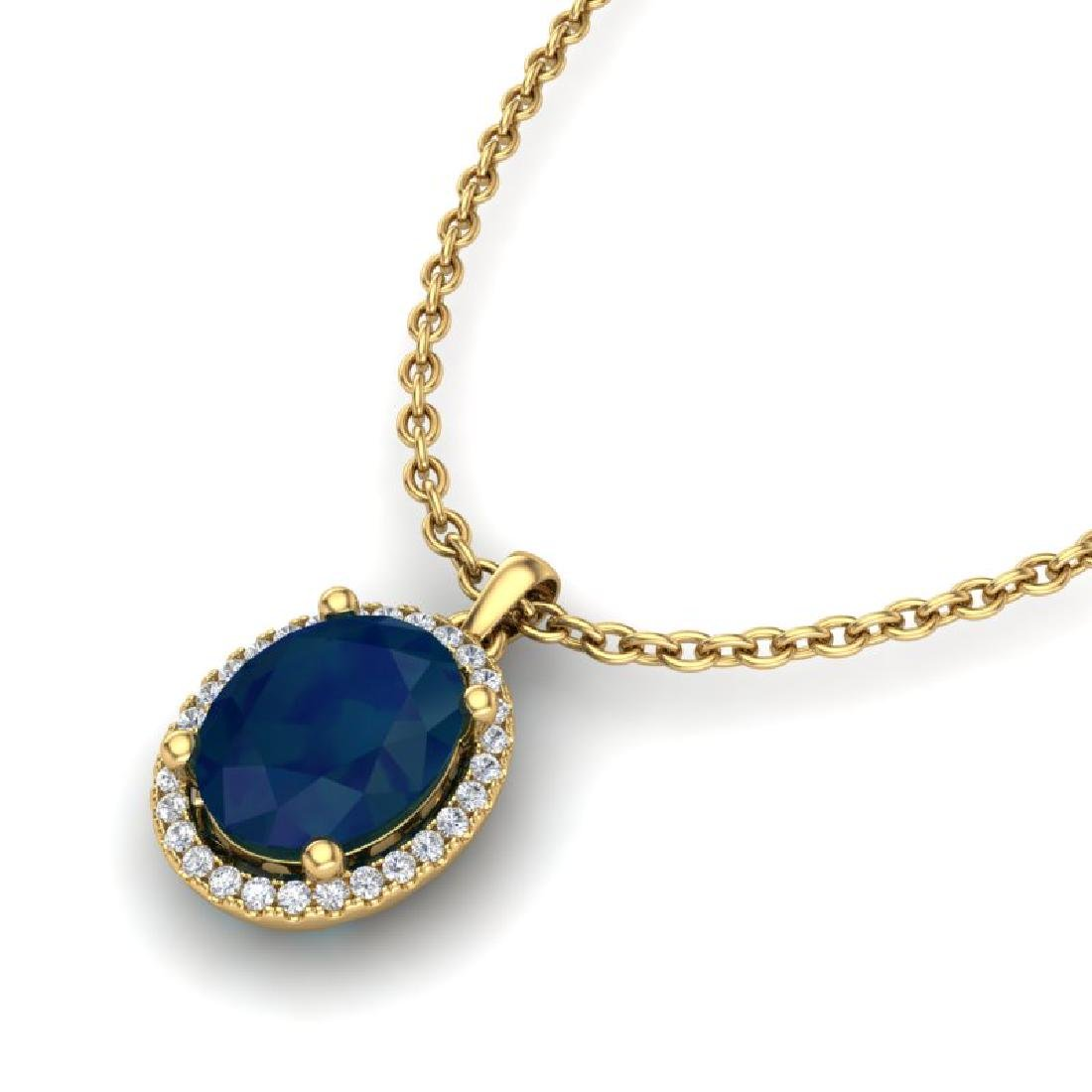 3 CTW Sapphire & Micro Pave VS/SI Diamond Necklace Halo