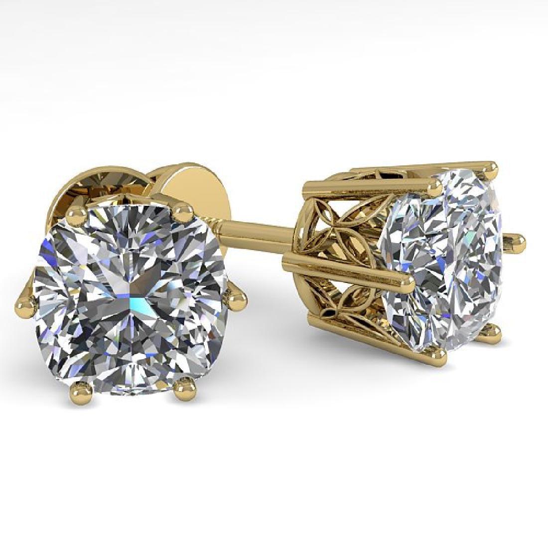 1.0 CTW VS/SI Cushion Cut Diamond Stud Art Deco