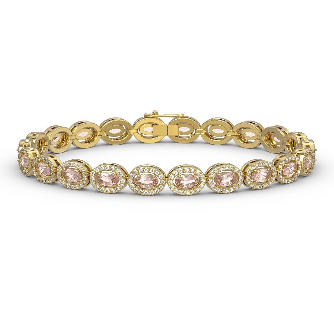 10.48 CTW Morganite & Diamond Halo Bracelet 10K Yellow