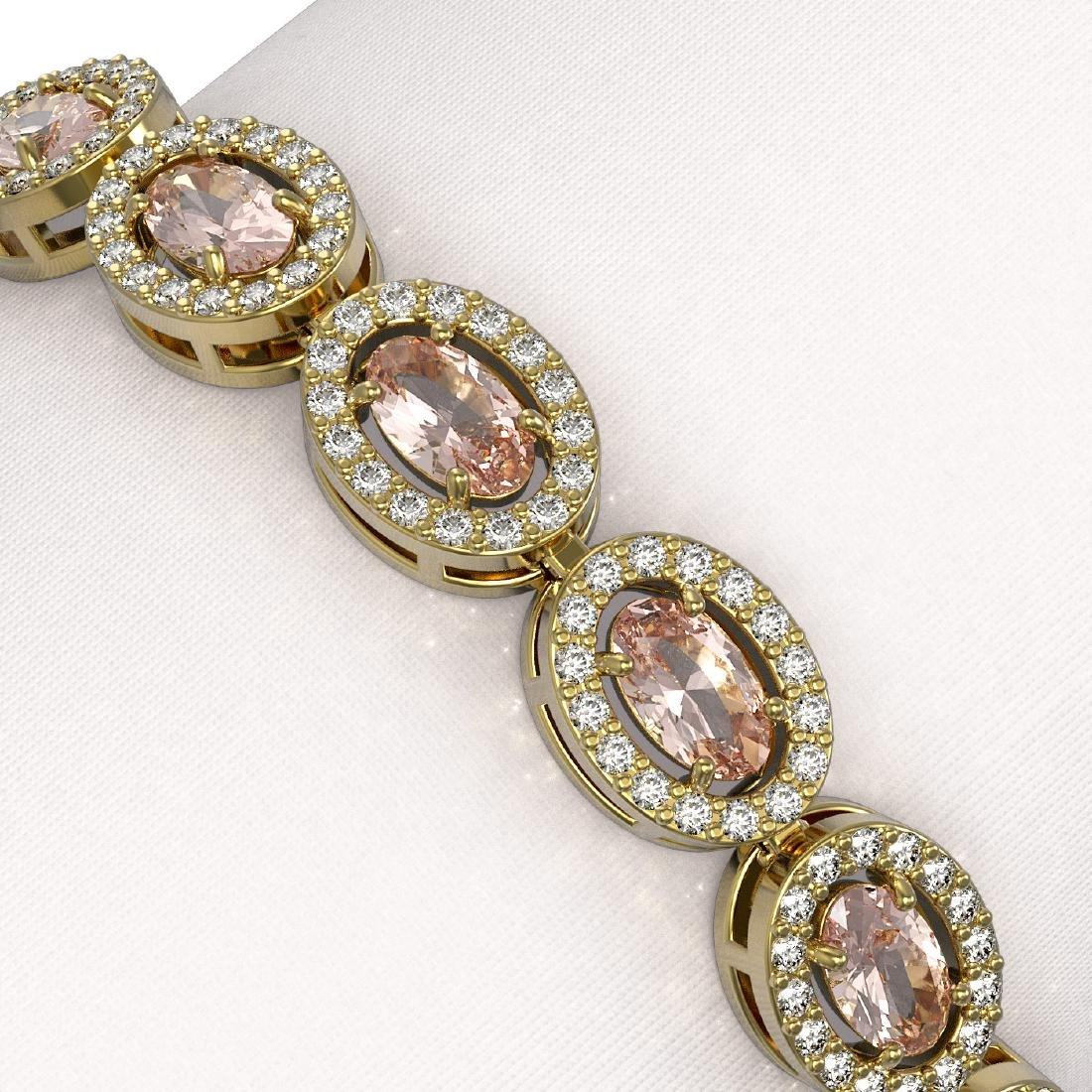 10.48 CTW Morganite & Diamond Halo Bracelet 10K Yellow - 3