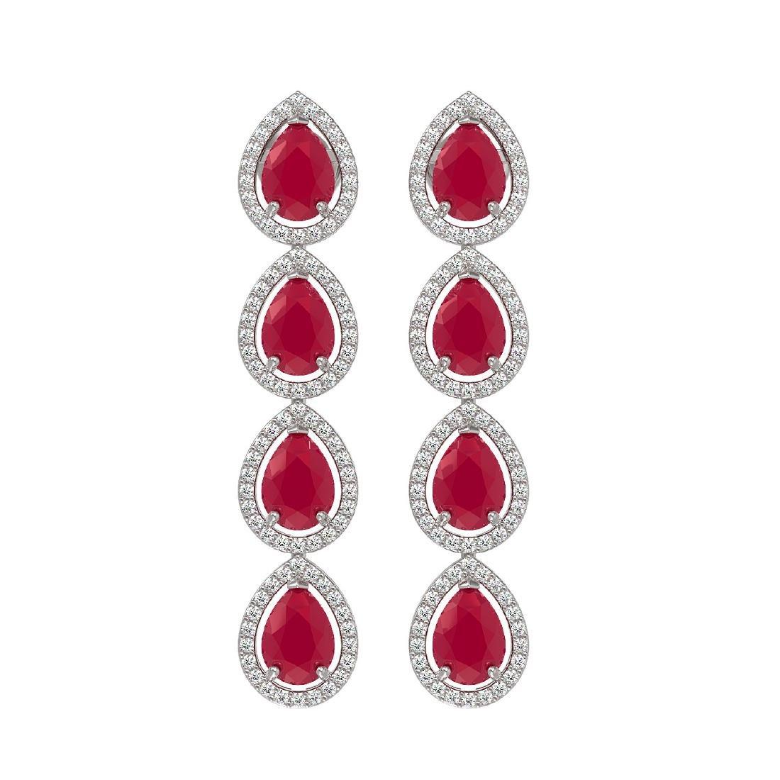 10.2 CTW Ruby & Diamond Halo Earrings 10K White Gold